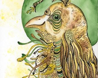 Quail Bird Art Prints.Illustration.Painting.Surreal.Fantasy.Wall art.Esoteric.Mythical.Spirit Animals.