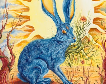 Expansion Desert Sun Jackrabbit Museum Quality Print.spirit animal art.surrealism.