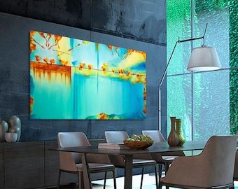 "Large abstract painting Horizontal Modern Contemporary wall Art Brush Strokes Painting Canvas Artwork  Handmade 63.8x38.2"""