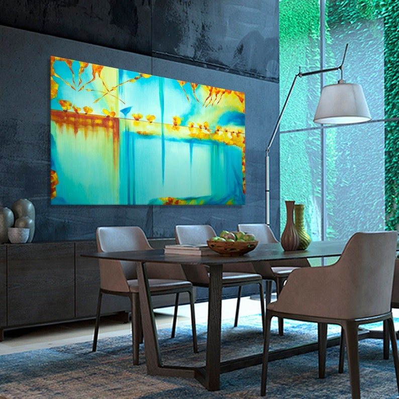 Large abstract painting Horizontal Modern Contemporary wall image 1