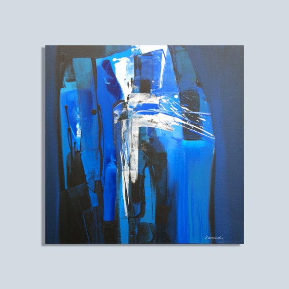Blue Painting Black White Grey Abstract Painting Modern Painting Original Painting