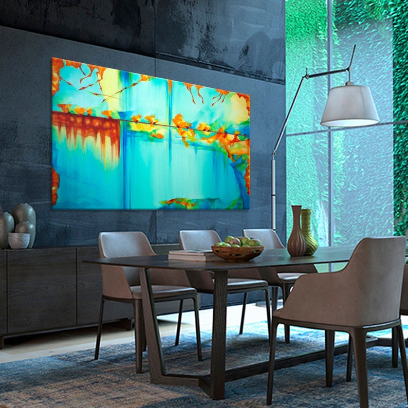 Large abstract painting Horizontal Modern Contemporary wall image 0