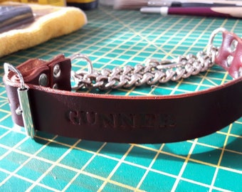 Personalised Hand Crafted Half Choke Check Leather Dog Collars matching short leash Gift