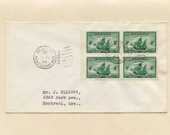April 1 1949 Canada FDC Newfoundland into Confederation St John's Newfoundland Block of 4 Stamps No 282 to Mr Elliott Montreal Quebec 6153Pe
