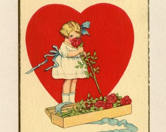 Vintage Valentine's Day Postcard Cute Girl Smelling a Rose with Big Red Heart Samuel Gabriel & James Pitts New York - 9192Pa