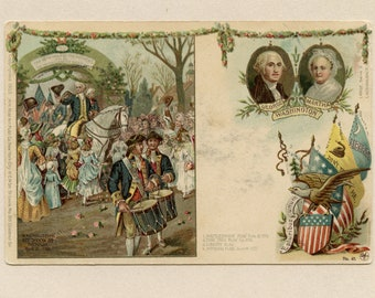 Martha and George Washington Reception at Trenton Postcard by Lange Schwalbach US History Colonial Heroes Undivided Back Unused - 9833