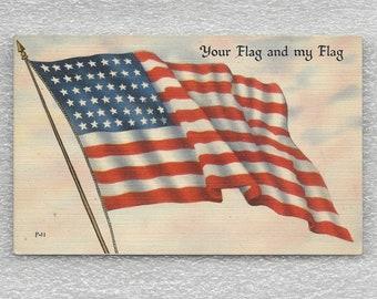 9742313cc Old Glory US Patriotic Linen Postcard