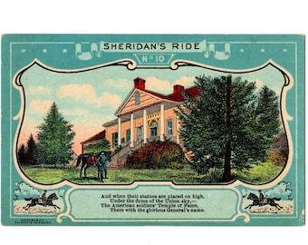 Patriotic Postcard Sheridan/'s Ride Series No 7 Union General Civil War Card