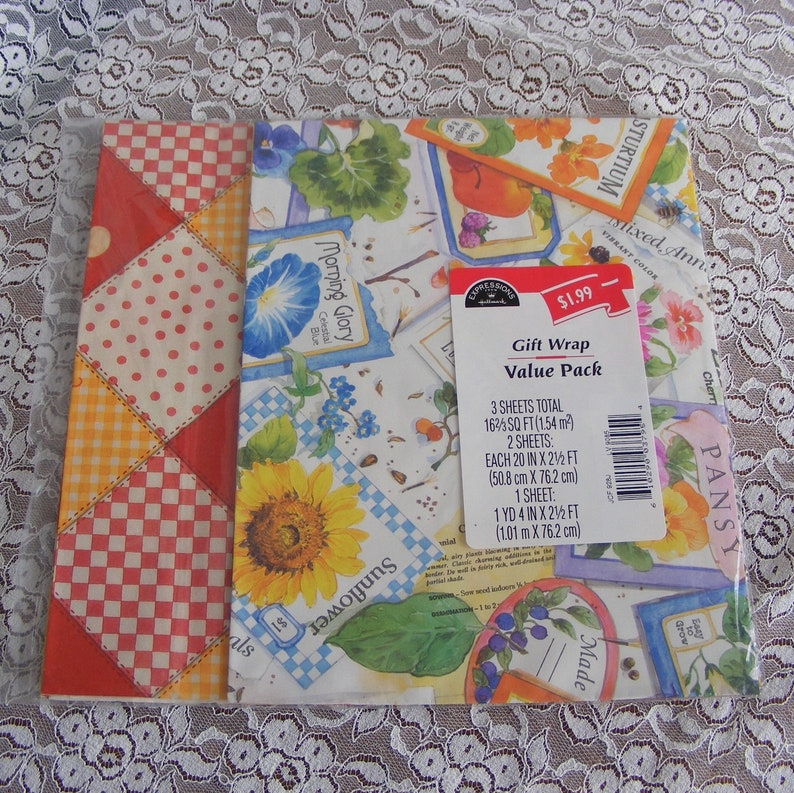 Vintage Hallmark Gift Wrap Variety Pack Garden Seed Packets And Quilted Fruit Squares Wrapping Paper Nos All Occasion 9516b