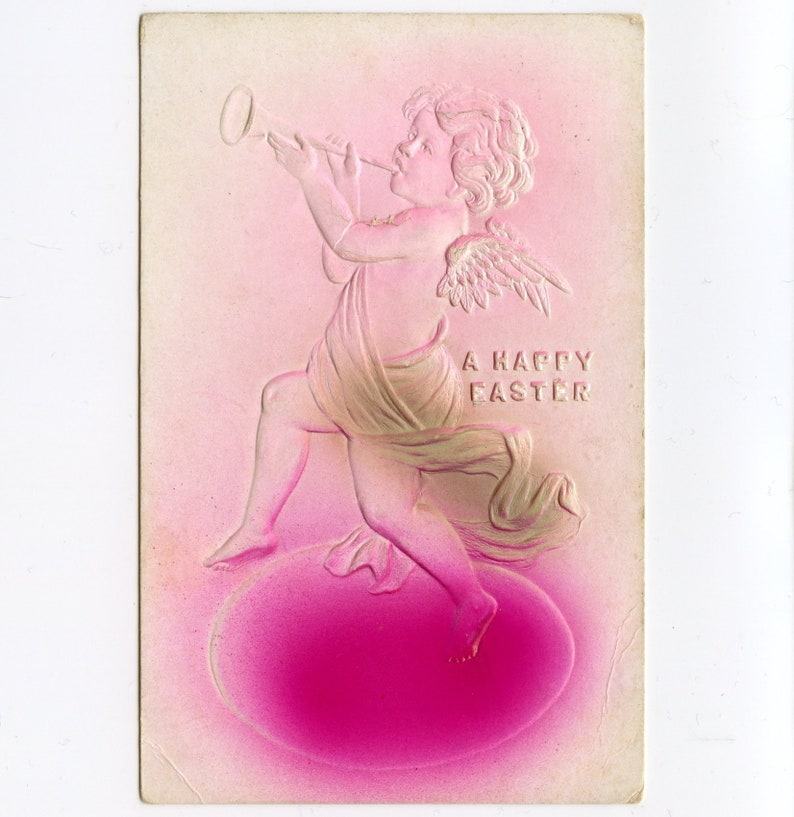 Embossed Used Vintage Airbrushed Fantasy Easter Postcard 11268Pb Angel Blowing His Horn