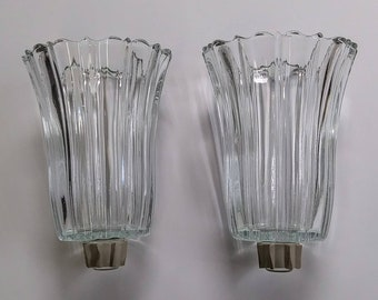 Vintage Pair of Tall HOMCO Peg Votive Candle Holders with Rubber Grommets, Clear Paneled Glass, 5: Tall - 15497