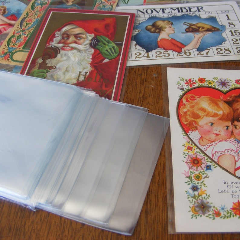 100 New Postcard Sleeves, Acid Free Clear Polypropylene, Archival Safe,  Craft Scrap Paper Storage Supply and Display, Standard Size - 11079