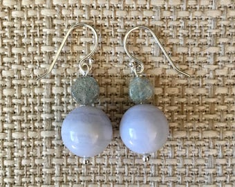 Blue Lace Agate and Labradorite Earrings