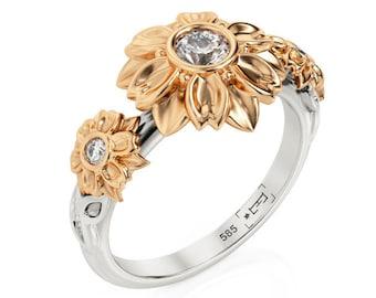 ef134c20c392aa Three Stone Ring, Three Stone Engagement Ring, Two Tone engagement ring,  Flowers Engagement ring, Filigree engagement ring, 2078an