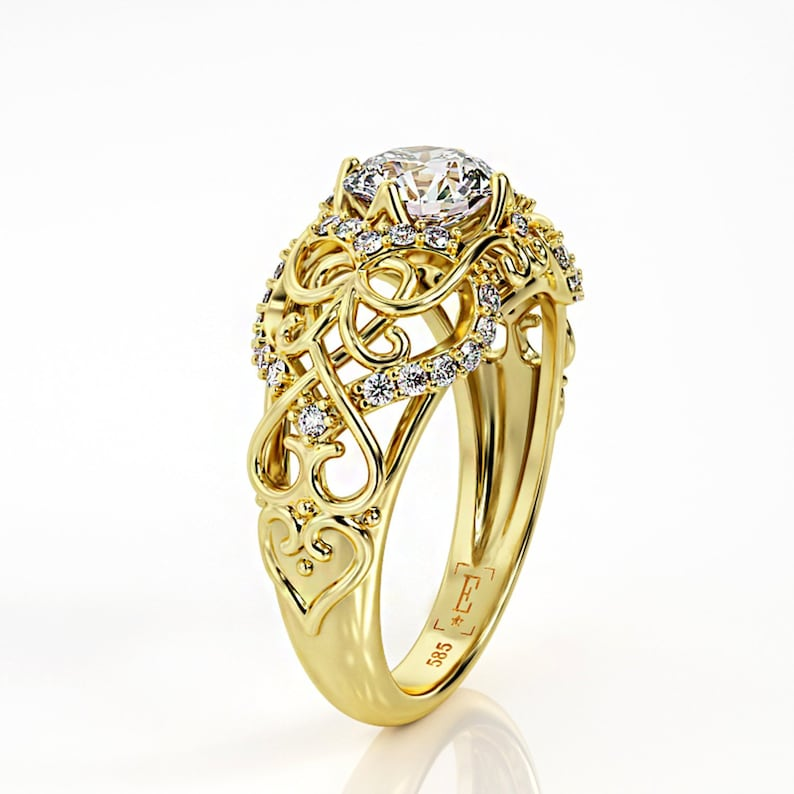 cd2e6dcce3c3e Celtic Engagement Ring, 1ct Moissanite engagement ring, Heart ring, yellow  gold engagement ring, 5549