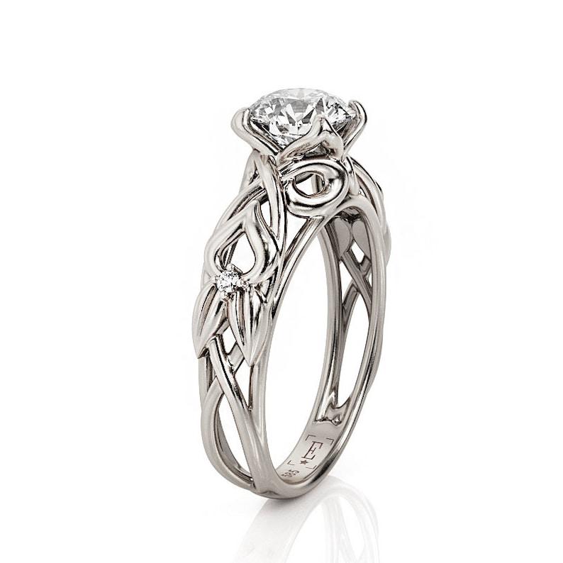 2072067b1a8c4 Celtic Engagement Ring, White Gold Moissanite Ring, 3556