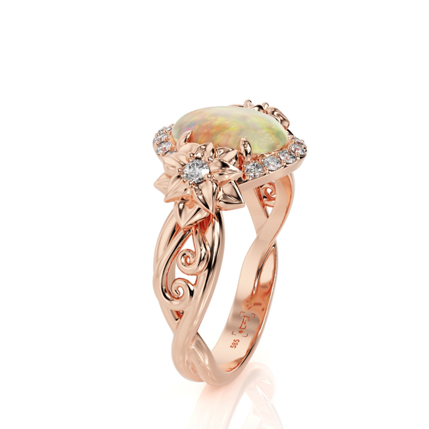 Opal Engagement Ring Flower Engagement Ring Opal Flower Ring image 0