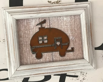 Farmhouse shabby chic style distressed wood framed rustic glamper