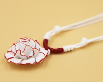 Ceramic Jewelry-floral Necklace, Adjustable, Hand Weaving