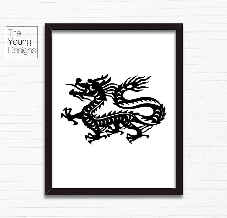 Chinese Zodiac Dragon Astrology Animal Sign Birthday Year Printable Posters Paper Cutting Style Birthday Gift Ideas