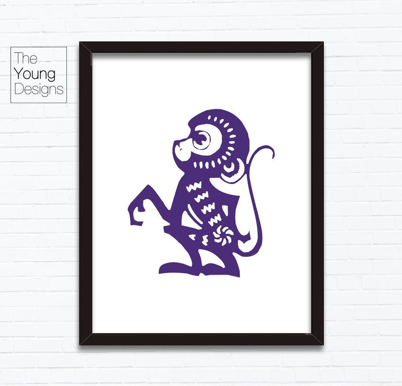 paper cutting style Astrology Animal Sign Birthday Year printable posters Chinese Zodiac Monkey Birthday gift ideas