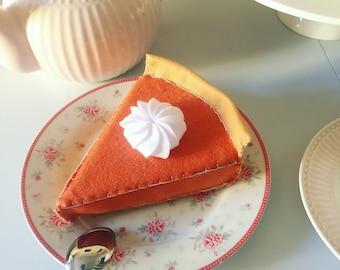 Felt food pretend play, felt pumpkin pie, felt toys, tea party, Christmas gift, birthday gift, baby girl gift, handmade toy, felt cake