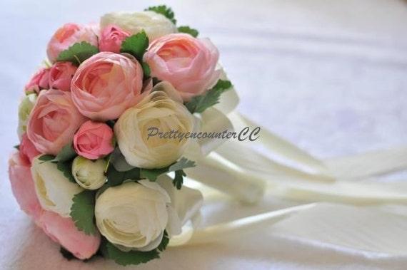 Cream pink ivory wedding bouquet silk wedding flowers handmade etsy image 0 mightylinksfo