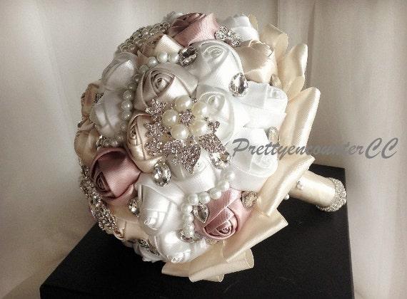 Encantadoras rosas Champagne boda ramo de flores con cinta de  fc009b3c87fb