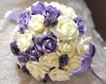 Lavender&Ivory Wedding Bouquet Handmade Wedding Flowers PE Roses Bouquet with Satin Ribbon Bridal Bouquet Bridesmaid Bouquet