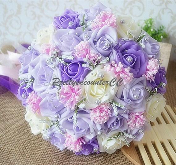 Lavendel Hochzeitsstrauss Handgemacht Hochzeit Blumen Elfenbein Etsy