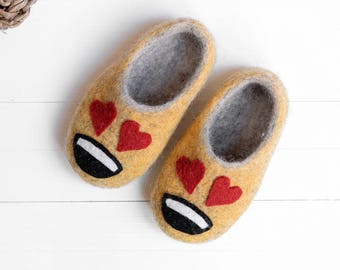 b2160a64dba2 boys and girls yellow felt slippers- toddler funny emoji love slippers- children  slippers- baby slippers- kids sneakers- kids loafers