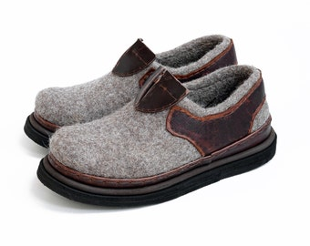 7065bf8866f Low top felt woolen outdoor shoes for women- felted wool sneakers with  leather parts- boiled wool shoes with sole- natural woolen footwear