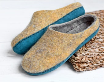 yellow wool slippers- felt slippers- natural wool clogs- slippers with custom sole- wool inside shoes