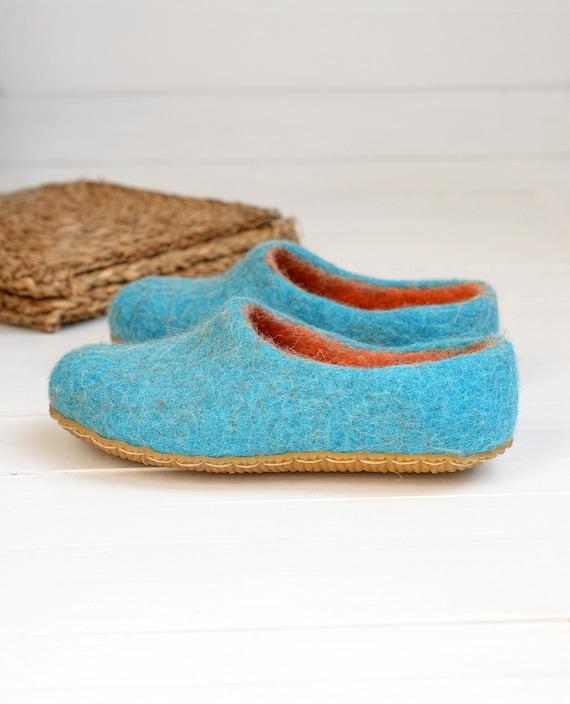 Filz Türkis Hausschuhe für Frauen mit Leder Sohle Hausschuhe Wolle Clogs gekochte Wolle Hausschuhe