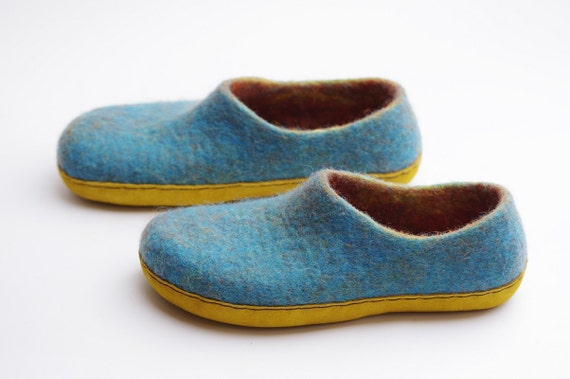 felt turquoise slippers for women with leather sole house etsy