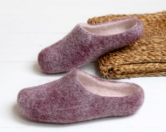 Dark purple felted slippers for woman- Boiled wool slippers for her with sole
