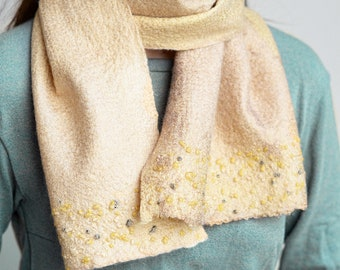 Nuno felt scarf from merino wool and silk for women