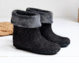 Felted natural black wool boots- home shoes- high boiled wool boots- natural black color shoes-solid wool shoes