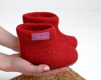 Personalised kids baby slippers booties in bright red color with natural non slip latex sole
