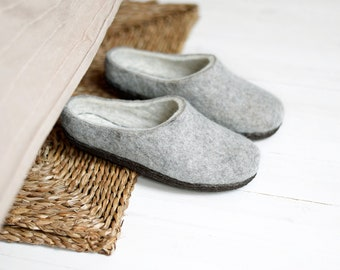 Ready to ship US 6.5 / EU 37 boiled wool slippers for women with brown rubber sole