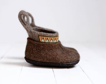 Felt eco slippers for kids- Eco House shoes for kids- Baby house slippers - Girl toddler shoes - Baby home slippers