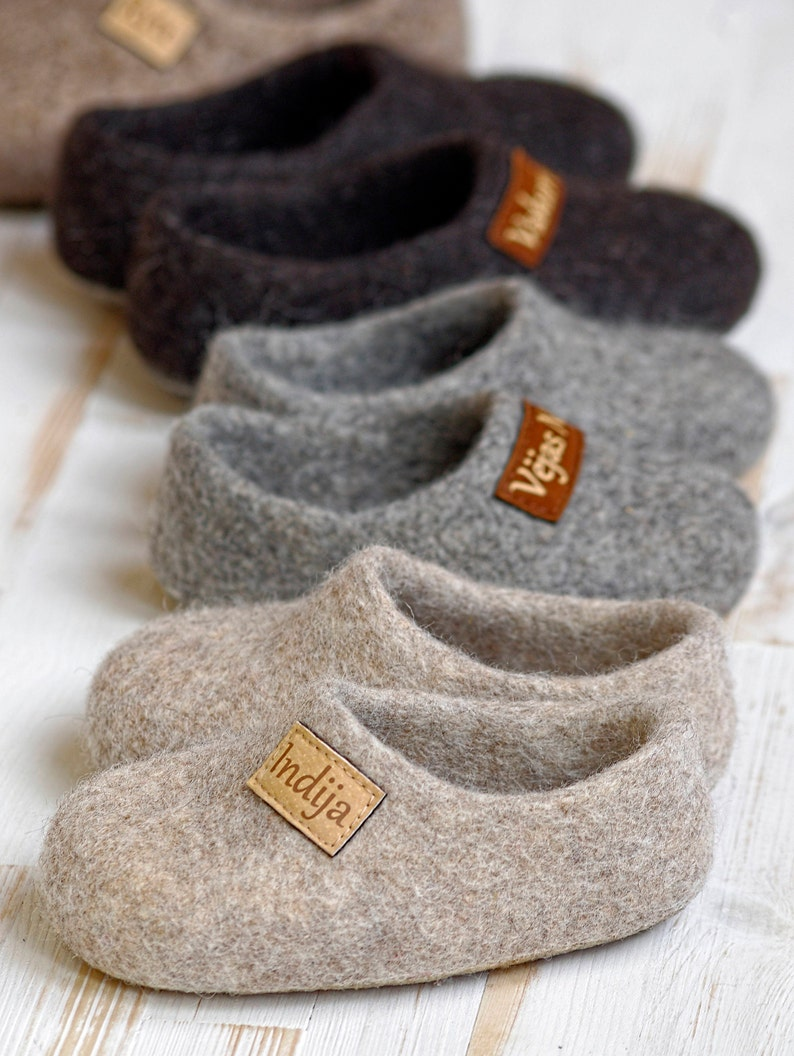 Felt kids slippers felted baby slippers wool baby clogs image 1