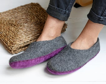 warm women slippers with lavender suede sole- dark gray home indoor shoes