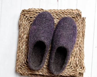 felted slippers- felt slippers women- slippers with sole- slippers women- clogs for women- step in slippers- boiled wool slippers