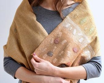 Extra fine merino wool shawl with Margilan silk- boho style organic neck warmer for women- nuno felt scarf