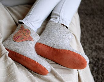 felted boots- felted wool boots- felted slippers- boiled wool slippers- winter boots- house slippers men- women home slippers