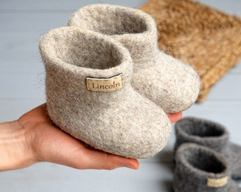 Kids wool slippers, toddler felt wool slippers- baby ankle warm boots- slippers with name- personalized slippers