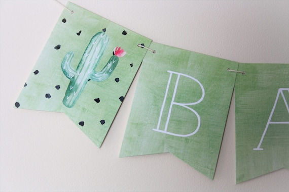 cactus banner cactus theme fiesta party new baby baby etsy