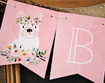 Dog Banner. Floral Crown. Dog with Floral Crown. Dog Theme. Dog Party. First Birthday. Birthday Banner. Baby Shower. One. Custom Banner.