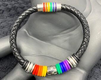 Magnetic Black Leather Cord Bracelet